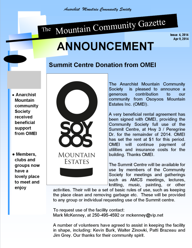 Summit centre announcement