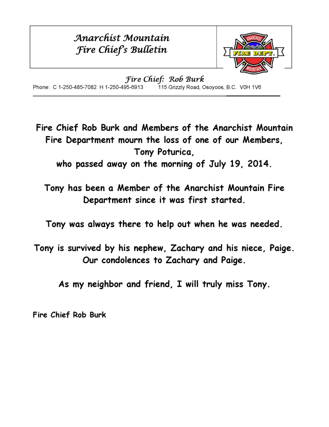 Fire Chief's Bulletin July 20 2014