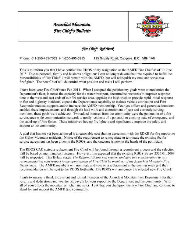 Fire Chief's Bulletin May 7, 2015
