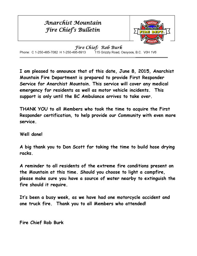 Fire Chief's Bulletin June 8 2015