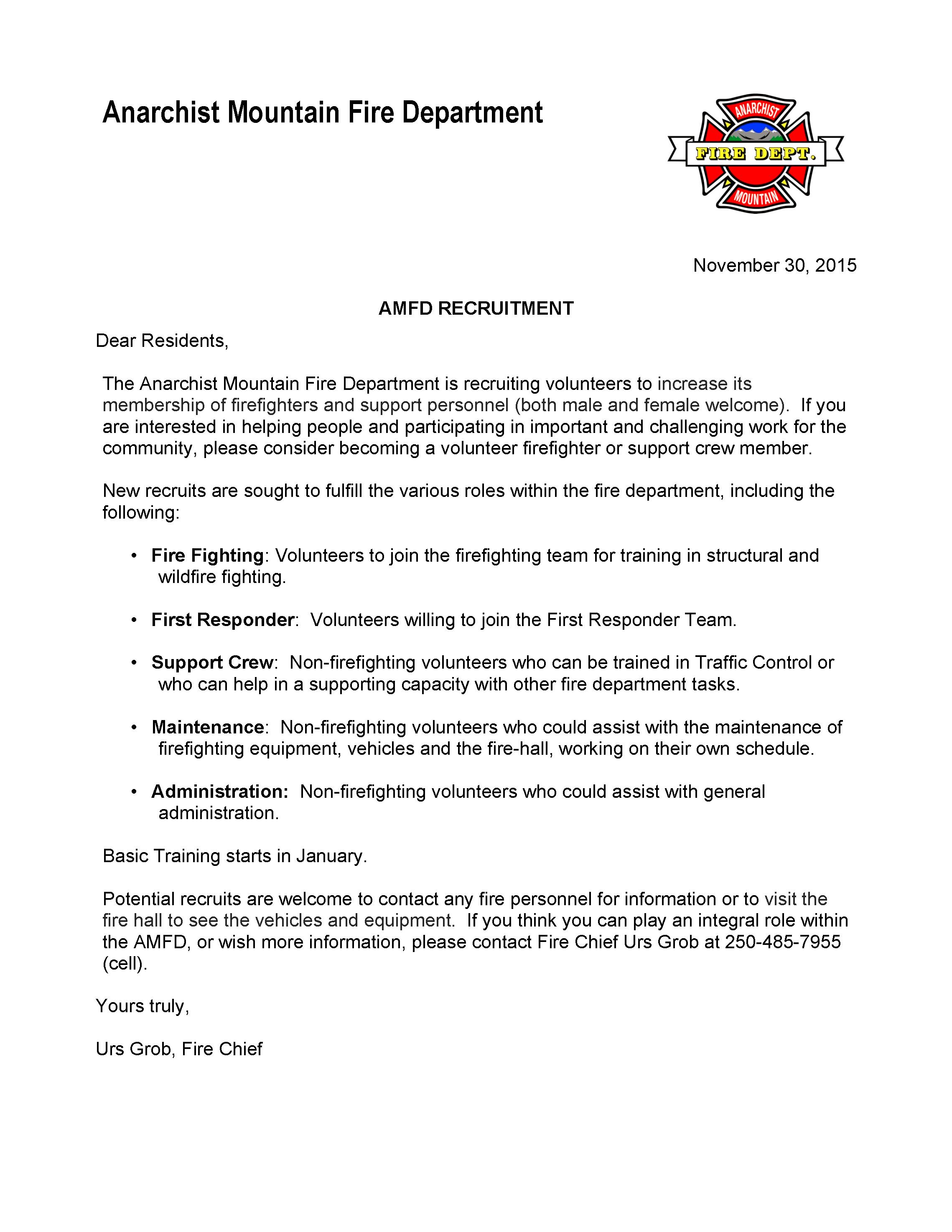 AMFD Volunteer Recruitment | Anarchist Mountain Community Society