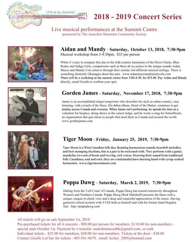 2018 - 2019 concert lineup